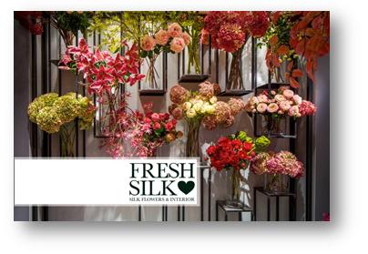 Freshsilk beschikt over een divers assortiment kunstbloemen, zoals pioenrozen en hortensia's.