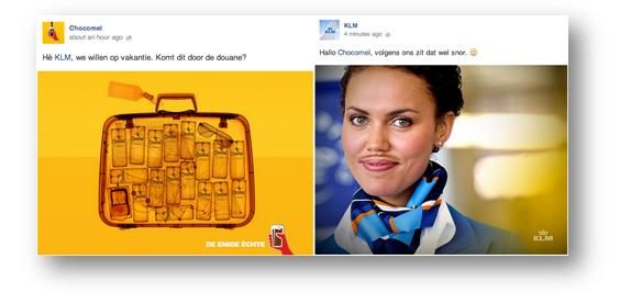 Een voorbeeld van inhaken op collegaondernemers van KLM en Chocomel.