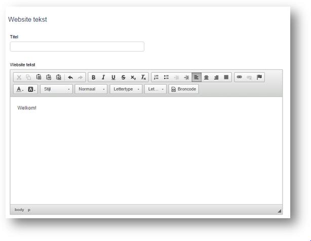 Voert u een website tekst in? Dan ziet die er als volgt uit.