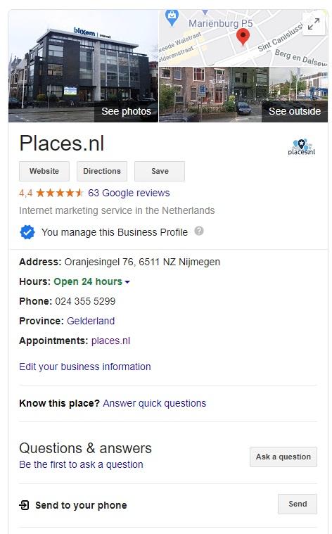 Google Mijn Bedrijf voorbeeld van Places