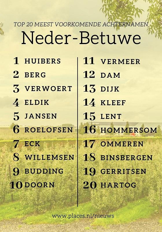 Neder-Betuwe achternamen