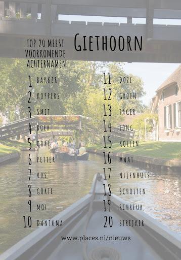 Meest voorkomende achternamen Giethoorn